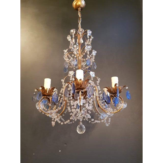 Fine beaded silver crystal chandelier antique ceiling lamp Lustre Art Deco. Measures: Total height 130 cm, height without...