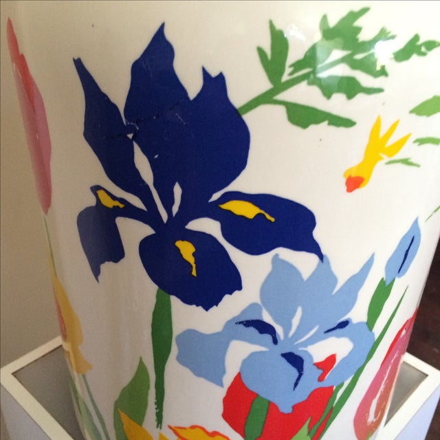 Mid-Century Floral Lamp With Red Custom Shade - Image 8 of 9