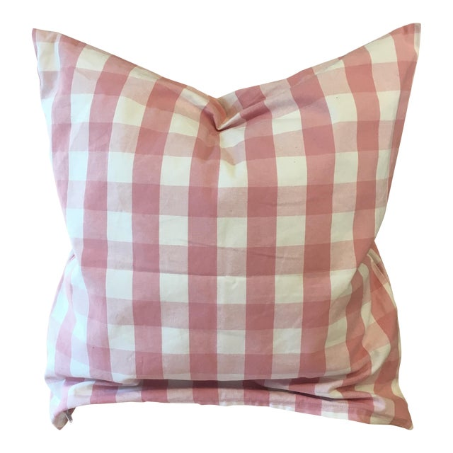 Pink Gingham Pillow Cover For Sale