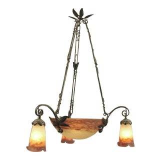 A French Art Glass and Hand-Wrought Muller Chandelier, Bowl & 3 Shades, Ca. 1915 For Sale
