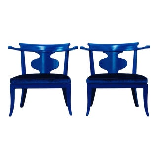 Mid Century Chinoiserie Style Horseshoe Chairs Redefined in Klein Blue - a Pair For Sale