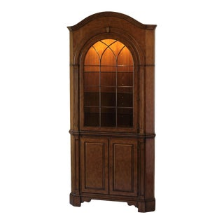 Scarborough House Myrtle Burl Corner Cupboard For Sale