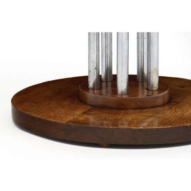 Brown French Architectural Oak on Chromed Steel Tubes Gueridon Table For Sale - Image 8 of 10