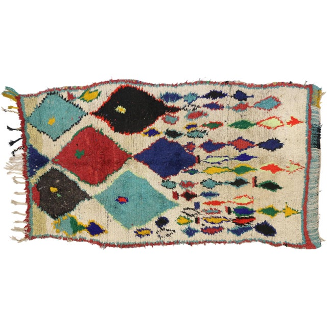 Tribal Style Vintage Moroccan Azilal Rug, Colorful Moroccan Berber Rug, 3'4 X 5'10 For Sale In Dallas - Image 6 of 6
