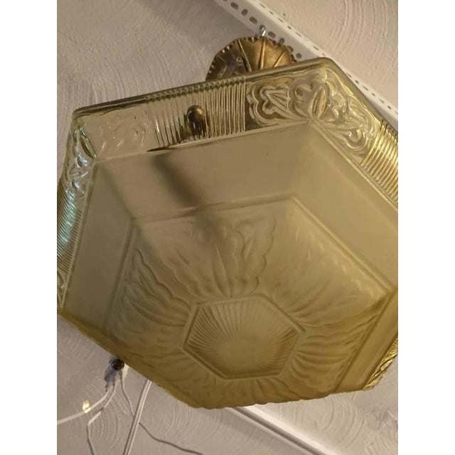 French Art Deco Glass and Brass Chandelier - Image 6 of 8
