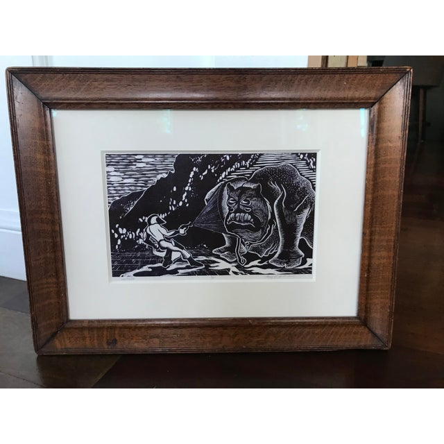 Black Vintage Abstract Sci Fi Comic Block Print Lithograph For Sale - Image 8 of 8