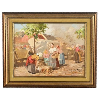 "Gyula Nemeth ""Women at an Outdoor Market"" Hungarian Oil Painting C. 1910 For Sale"