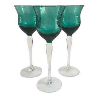 Vintage Emerald Cordial Stems - Set of 3 For Sale