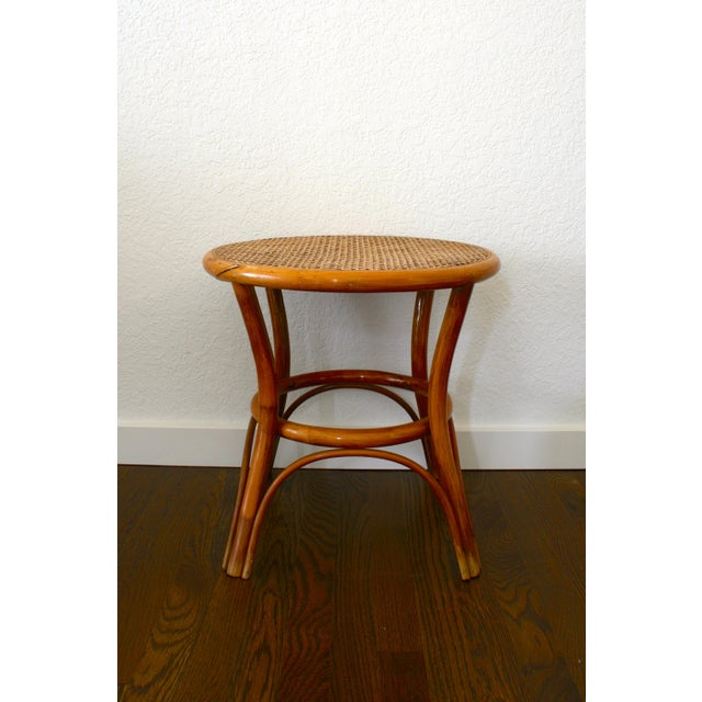 Caning Vintage Rattan and Cane Tables - a Pair For Sale - Image 7 of 10