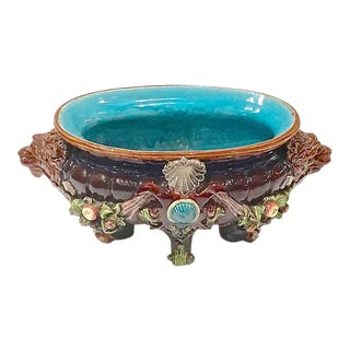 Antique Majolica Fruit & Lion Cachepot For Sale
