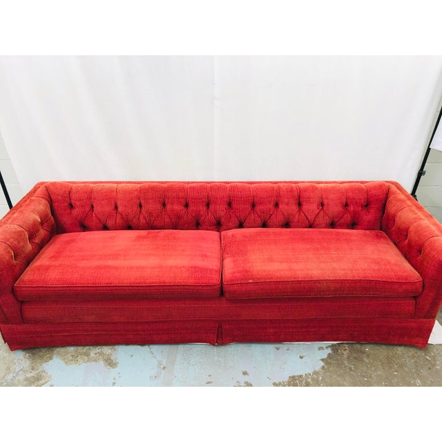 Vintage Chesterfield Style Tufted Button Back Sofa For Sale - Image 9 of 13