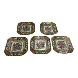 5 Square Plates Famille Rose Chinese With Butterflies For Sale