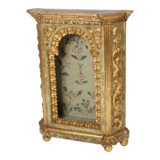 Baroque Style Painted & Gilt Decorated Niche Cabinet For Sale