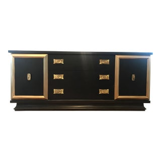 1950s Mid Century Modern Black Credenza For Sale