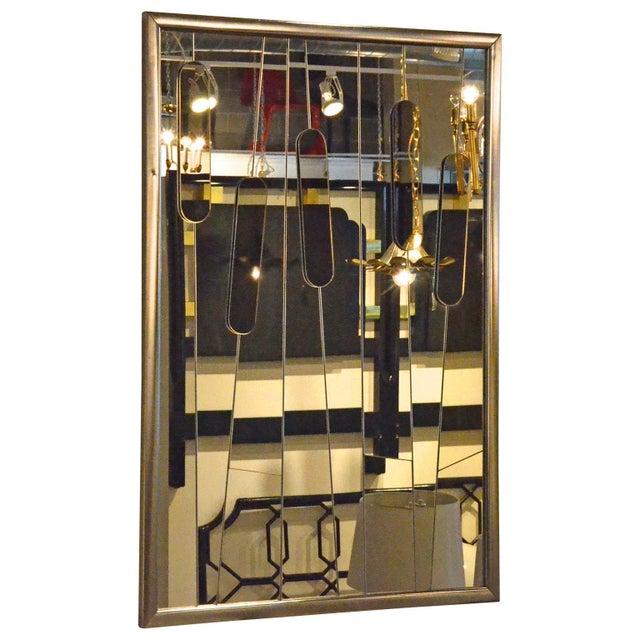 """Mid Century Modern Chrome and Cut-Glass """"Cat Tails"""" Mirror - Image 2 of 6"""