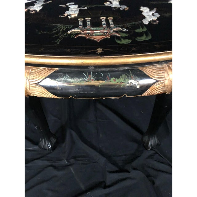 Chinese Black Ebony Lacquer Wood and Mother of Pearl Coffee Table For Sale - Image 9 of 13