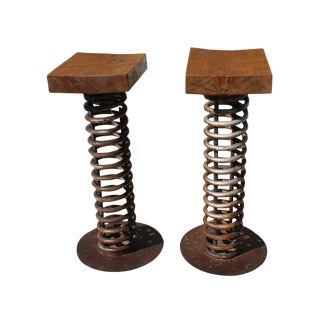 Industrial Style Repurposed Wooden Bar Stools - a Pair