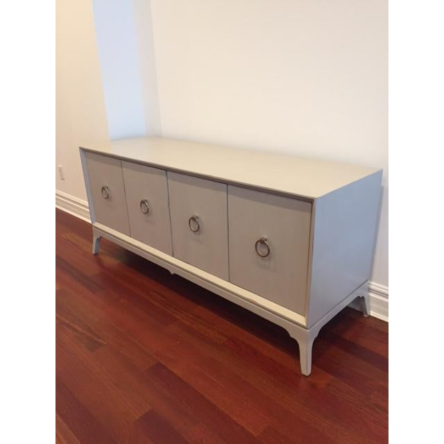 Light Grey 4-Door Wood Credenza - Image 2 of 5