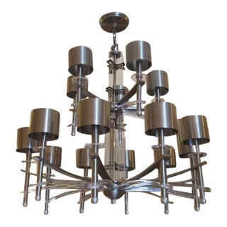 Mid Century Lucite & Brushed Steel Chandelier For Sale