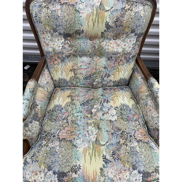 1950s Antique Floral Wingback Chairs - a Pair For Sale - Image 5 of 6