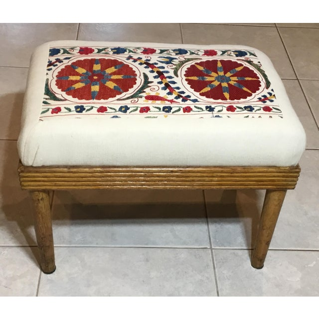 Vintage Upholstered American Sitting Stool For Sale - Image 13 of 13