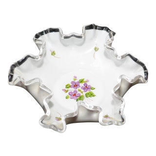 "Fenton Silvercrest ""Violets in the Snow"" Dish For Sale"