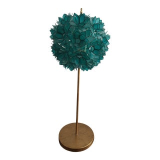 Turquoise Capiz Shell Table Lamp For Sale