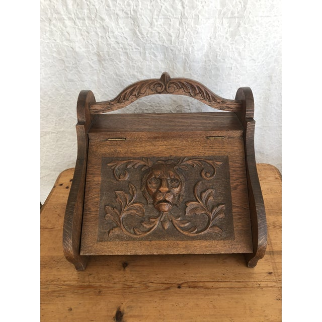 Wood Mid 19th Century Victorian Firewood Pellet Bin Deeply Carved Lions Head Fireplace Hearth Accessory For Sale - Image 7 of 7