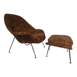 Vintage Mid Century Saarinen for Knoll Womb Chair and Ottoman For Sale
