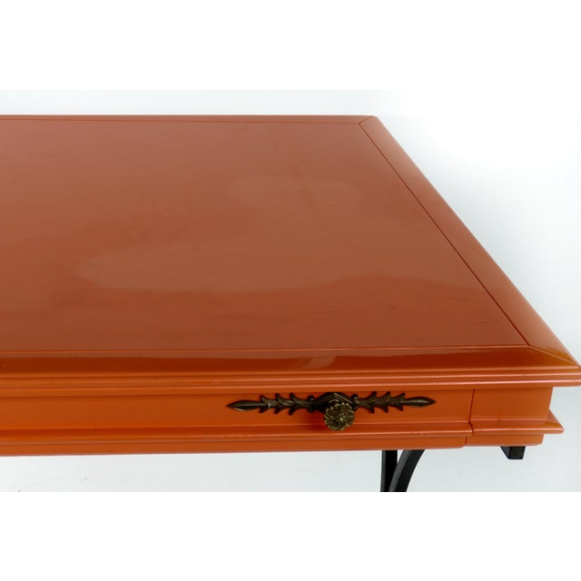 1980s Italian Orange Lacquer Wrought Iron Desk & Chair - 2 Pieces For Sale - Image 5 of 13