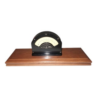 Early 20th Century Weston Mil Ammeter Electrical Meter Mounted On Laquered Wood Base For Sale
