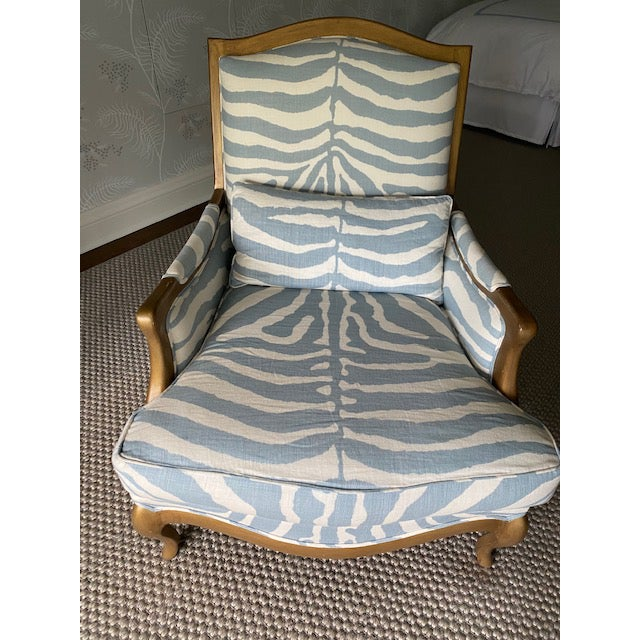 Henredon Club Chair With Cross Pattern Back For Sale - Image 9 of 12