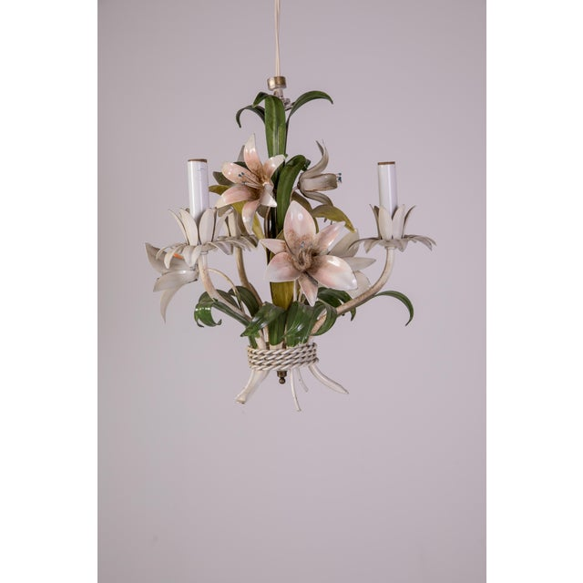 1950s Madcap Cottage Tole Lily 3-Light Chandelier For Sale - Image 5 of 12