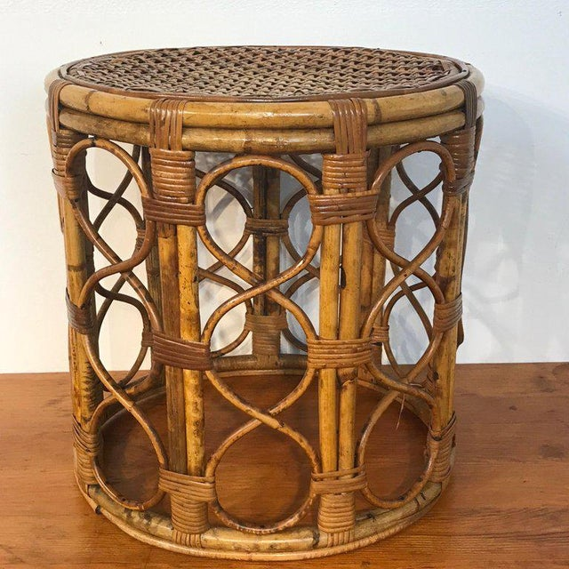 Set of Three Graduating/ Nesting Bamboo, Rattan and Reed Nesting Side Tables For Sale - Image 4 of 13