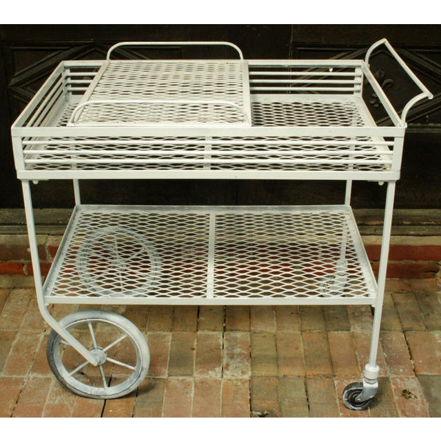 """Wrought iron patio bar cart with removable serving tray. Great Modernism design, c. 1940s-1950s. Repainted. 34"""" w., 20..."""