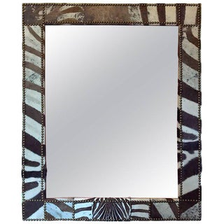 Large Zebra Hide Mirror I For Sale