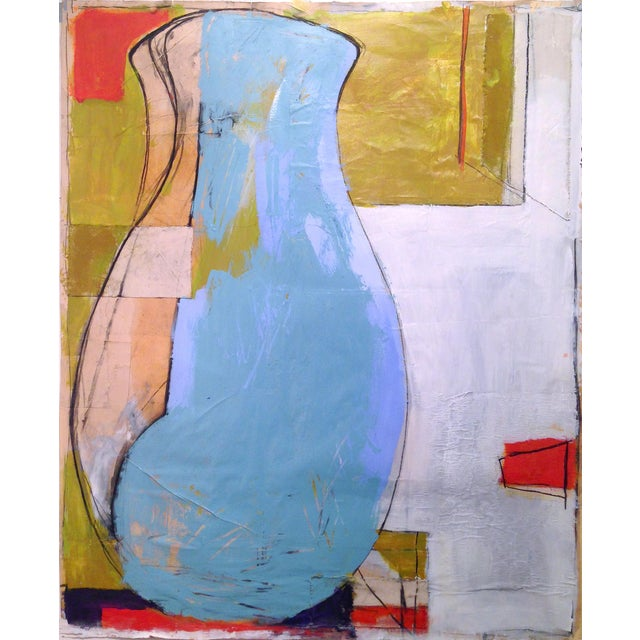 2010s Large Blue Vase Painting - Mixed Media Collage For Sale - Image 5 of 6