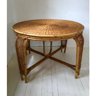 1960s Boho Chic Wicker & Rattan Petite Round Table & Stools Preview