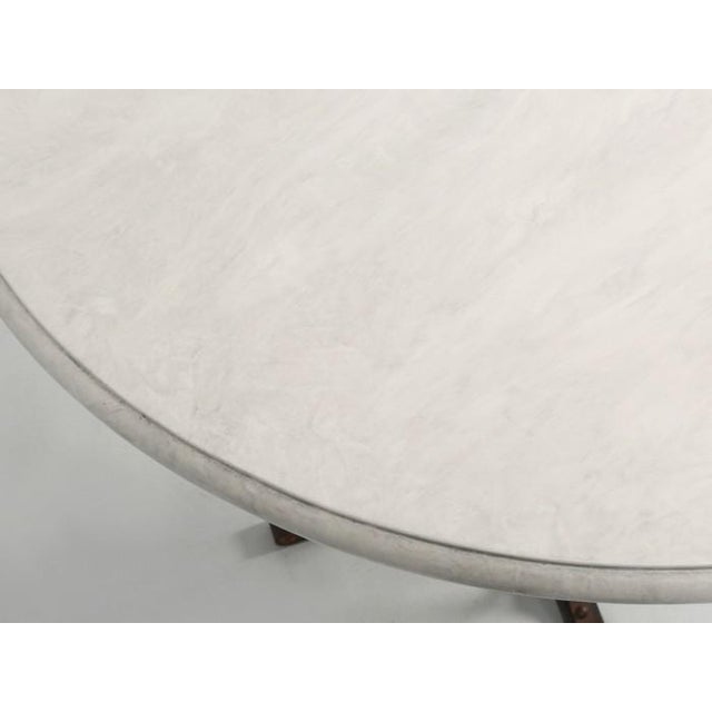 1980s Small French White Faux Marble Top Kitchen or Game Table For Sale - Image 5 of 10
