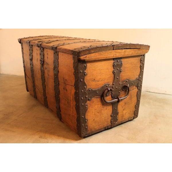 Brown 18th Century Oak & Iron Danish Coffer For Sale - Image 8 of 10