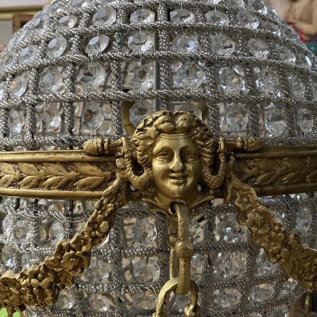 1970s Crystal and Brass Hot Air Balloon Chandelier** For Sale - Image 5 of 11