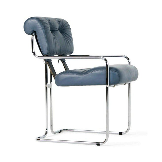 Modern Blue-Grey Leather Tucroma Chair by Guido Faleschini for I4 Mariani- Set of 6 For Sale - Image 3 of 13