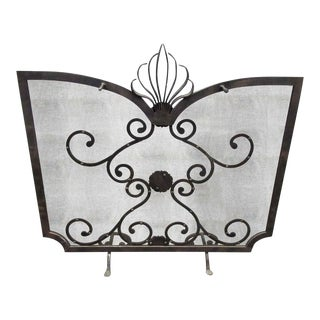Ornate Metal Fireplace Screen For Sale