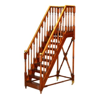 Architectural Decorative Victorian Walnut & Brass Library Steps, Ladder, Stairs For Sale