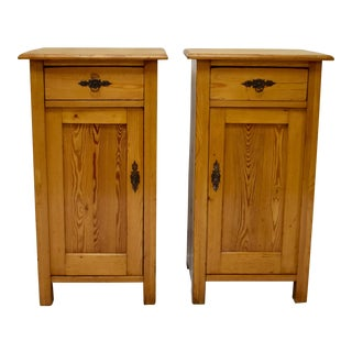 Pair of Pine Nightstands For Sale