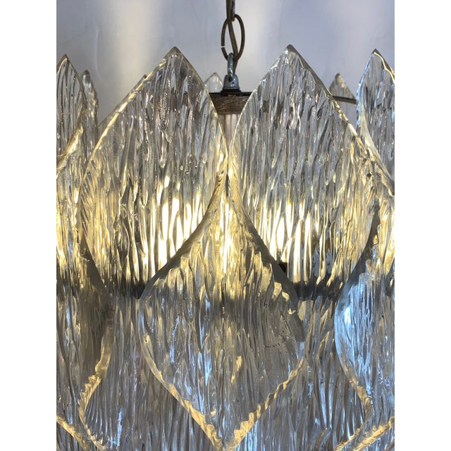 1970s Mid Century Modern Lucite Chandelier With Layered Petals For Sale - Image 5 of 7