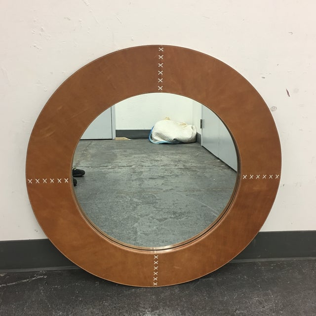 Jamie Young Round Cross Stitch Wall Mirror - Image 2 of 8