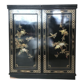 1940s Chinoiserie Lacquer & Marble Bar Cabinet For Sale
