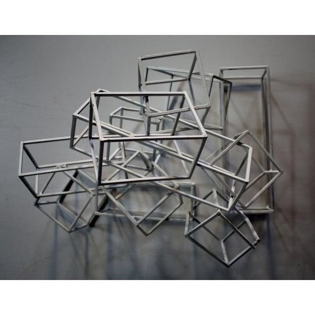 Geometric Metal Boxes Sculpture - Image 6 of 7