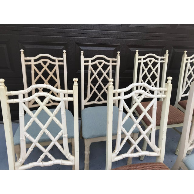 Asian 1960s Vintage Chinoiserie Faux Bamboo Dining Chairs- Set of 8 For Sale - Image 3 of 10